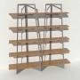 Bibliothèque placage chêne - Gris - 2 m largeur x 2,05 m hauteur