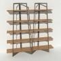 Bibliothèque placage chêne - Taupe - 2 m largeur x 2,05 m hauteur
