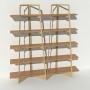 Bibliothèque placage chêne - Beige - 2 m largeur x 2,05 m hauteur