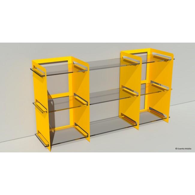 Bibliothèque basse sur mesure en métal et plexiglas - 146 cm x 39 cm