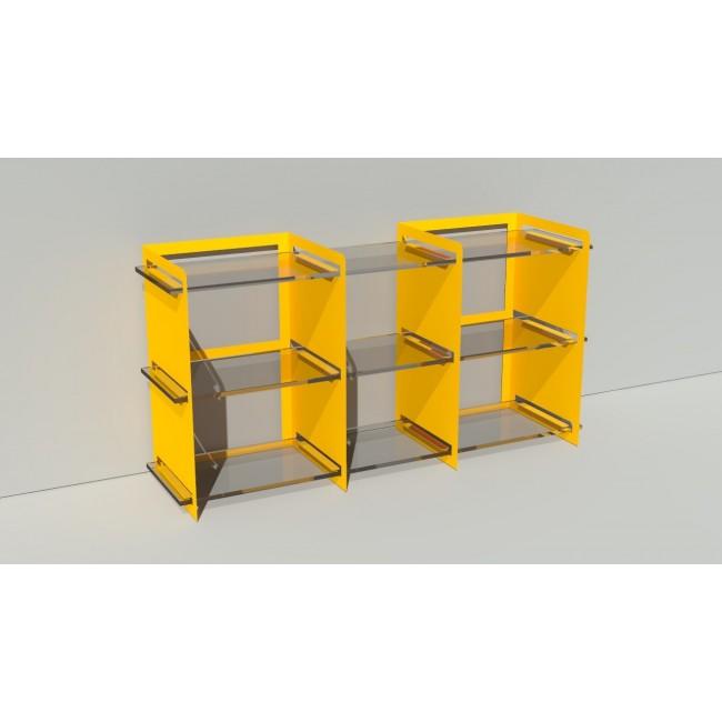 Bibliothèque basse sur mesure en métal et plexiglas - 150 cm x 43,6 cm