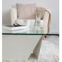 Table basse blanche trapèze verre et métal - Roc