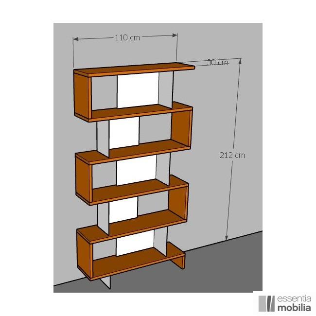 Bibliothèque Swing chêne massif et métal sur mesure 110 cm x 212 cm