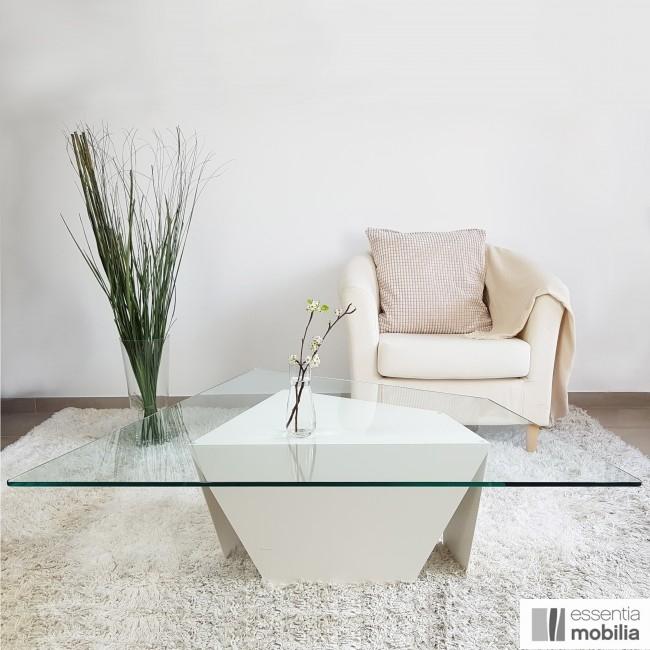 Table basse trapèze verre et métal - Roc