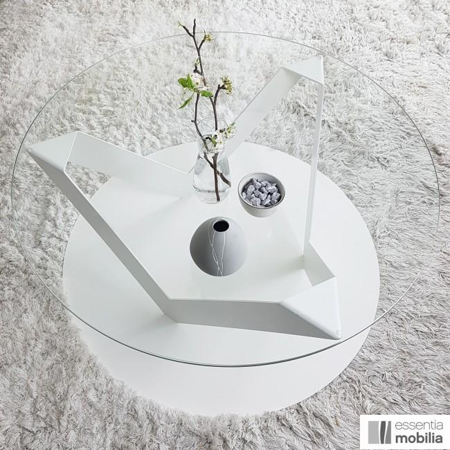Table basse ronde 80 cm verre et métal - Eclats
