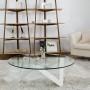 Table basse ronde verre et métal - Etincelle - Sur la photo : diamètre 100 cm