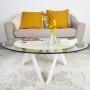 Table basse ronde 90 à 100 cm verre et métal - Rayons