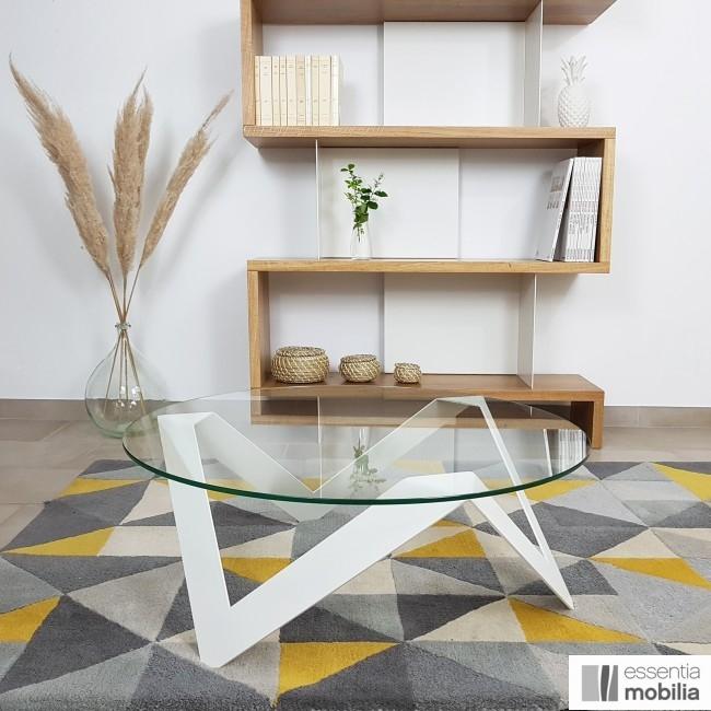 Table basse ronde verre et métal - Etincelle - Sur la photo : diamètre 80 cm
