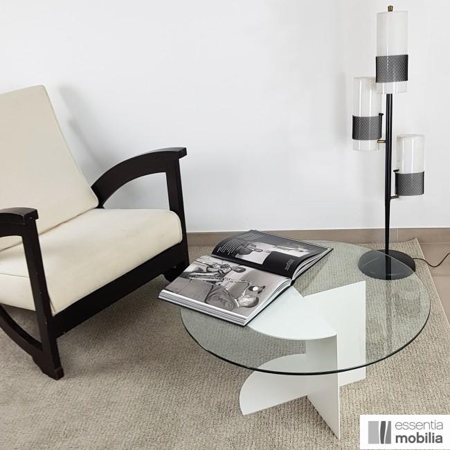 Table basse ronde 70 cm verre et métal - Eclipse