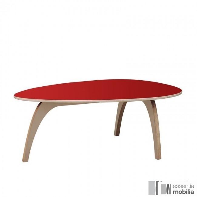 Table basse vintage années 50 - Bois multiplis et stratifié rouge