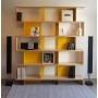 Bibliothèque bois multiplis et métal jaune - Sur la photo : largeur 2,1m, hauteur 1,85m