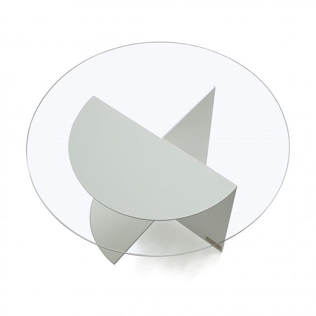 Table basse ronde verre et métal - Blanche - Plateau 80 cm - Sans fonds - Eclipse