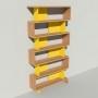 Bibliothèque bois et métal - Jaune - Haut. 251 cm - Largeur rendu 130 cm