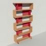 Bibliothèque bois et métal - Rouge - Haut. 251 cm - Largeur rendu 130 cm