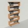 Bibliothèque bois et métal - Anthracite - Haut. 251 cm - Largeur rendu 130 cm