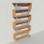Bibliothèque bois et métal - Gris - Haut. 251 cm - Largeur rendu 130 cm