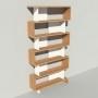 Bibliothèque bois et métal - Blanc - Haut. 251 cm - Largeur rendu 130 cm