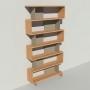 Bibliothèque bois et métal - Taupe - Haut. 251 cm - Largeur rendu 130 cm