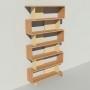 Bibliothèque bois et métal - Beige - Haut. 251 cm - Largeur rendu 130 cm