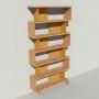 Bibliothèque bois et métal - Laiton - Haut. 251 cm - Largeur rendu 130 cm