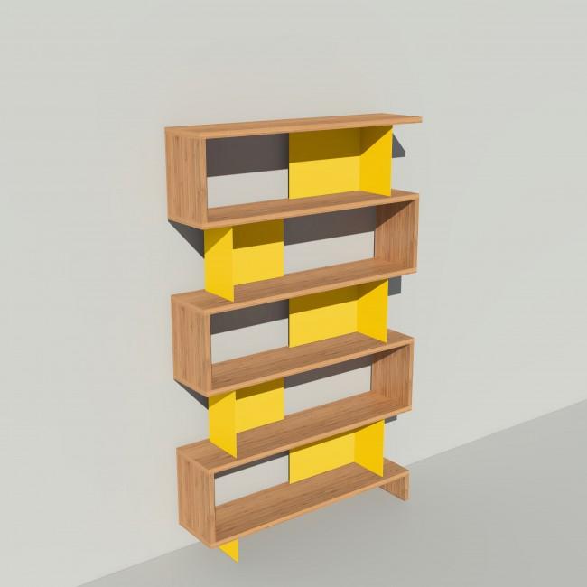 Bibliothèque bois et métal - Jaune - Haut. 212 cm - Largeur rendu 130 cm