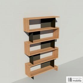Bibliothèque bois multiplis et métal thermolaqué noir