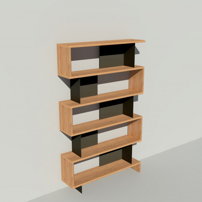 Bibliothèque bois et métal - Noir - Haut. 212 cm - Largeur rendu 130 cm