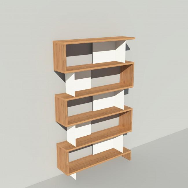 Bibliothèque bois et métal - Blanc - Haut. 212 cm - Largeur rendu 130 cm