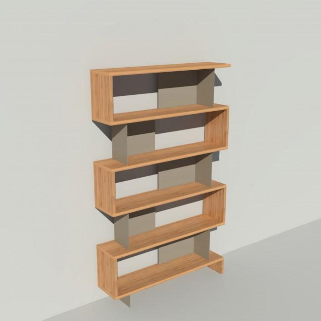 Bibliothèque bois et métal - Taupe - Haut. 212 cm - Largeur rendu 130 cm