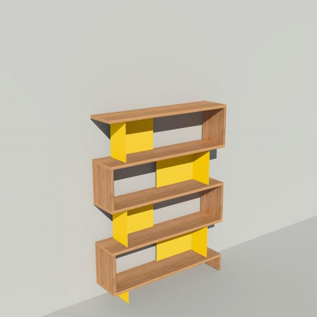 Bibliothèque bois et métal - Jaune -  Haut. 173cm - Largeur rendu 130 cm