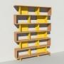 Bibliothèque bois et métal - Jaune - Haut. 251 cm - Largeur rendu 185 cm