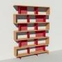 Bibliothèque bois et métal - Rouge - Haut. 251 cm - Largeur rendu 185 cm