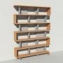 Bibliothèque bois et métal - Gris - Haut. 251 cm - Largeur rendu 185 cm