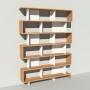 Bibliothèque bois et métal - Blanc - Haut. 251 cm - Largeur rendu 185 cm