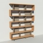 Bibliothèque bois et métal - Taupe - Haut. 251 cm - Largeur rendu 185 cm
