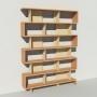 Bibliothèque bois et métal - Beige - Haut. 251 cm - Largeur rendu 185 cm