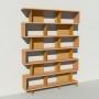 Bibliothèque bois et métal - Laiton - Haut. 251 cm - Largeur rendu 185 cm