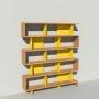Bibliothèque bois et métal - Jaune - Haut. 212 cm - Largeur rendu 185 cm