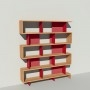 Bibliothèque bois et métal - Rouge - Haut. 212 cm - Largeur rendu 185 cm