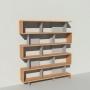 Bibliothèque bois et métal - Gris - Haut. 212 cm - Largeur rendu 185 cm
