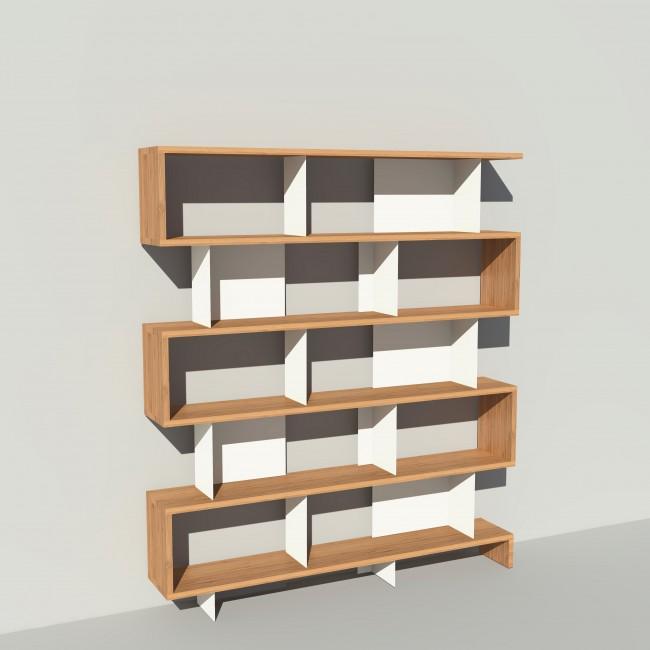 Bibliothèque bois et métal - Blanc - Haut. 212 cm - Largeur rendu 185 cm