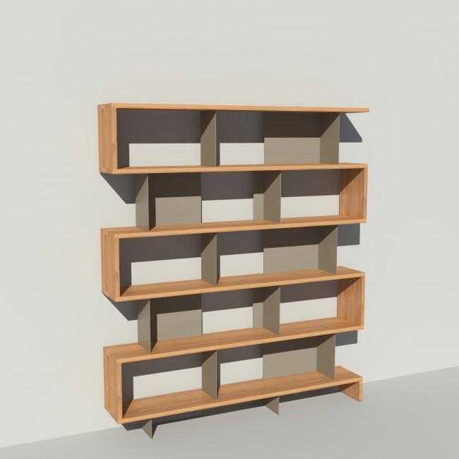 Bibliothèque bois et métal - Taupe - Haut. 212 cm - Largeur rendu 185 cm