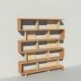 Bibliothèque bois et métal - Beige - Haut. 212 cm - Largeur rendu 185 cm