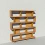 Bibliothèque bois et métal - Laiton - Haut. 212 cm - Largeur rendu 185 cm