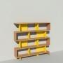 Bibliothèque bois et métal - Jaune - Haut. 173 cm - Largeur rendu 185 cm