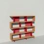 Bibliothèque bois et métal - Rouge - Haut. 173 cm - Largeur rendu 185 cm