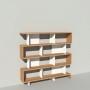 Bibliothèque bois et métal - Blanc - Haut. 173 cm - Largeur rendu 185 cm